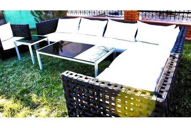 Угловой диван | Кресло и 2 кофейных столика А064