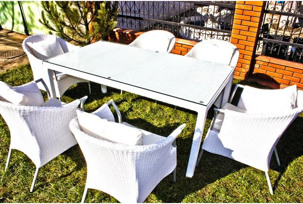 Обеденный стол и 6 кресел из искусственного ротанга В040