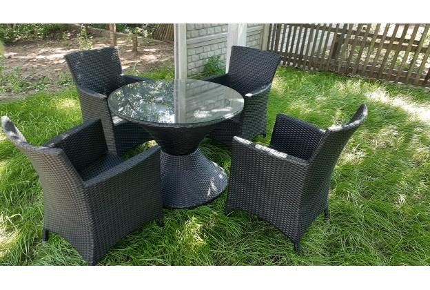 4 кресла и обеденный стол из искусственного ротанга А020 + B26-4