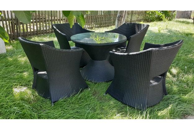 4 кресла и обеденный стол из искусственного ротанга А020 - 4
